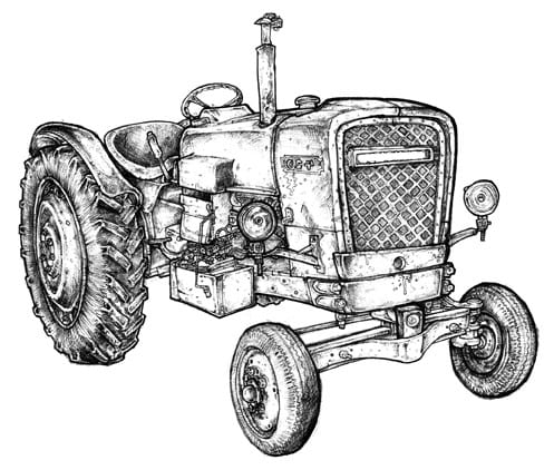 drawing of a tractor at pecan trees for sale
